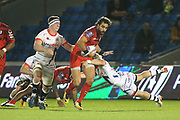 Faf De Klerk flying tackle during the European Rugby Challenge Cup match between Sale Sharks and Toulouse at the AJ Bell Stadium, Eccles, United Kingdom on 13 October 2017. Photo by George Franks.