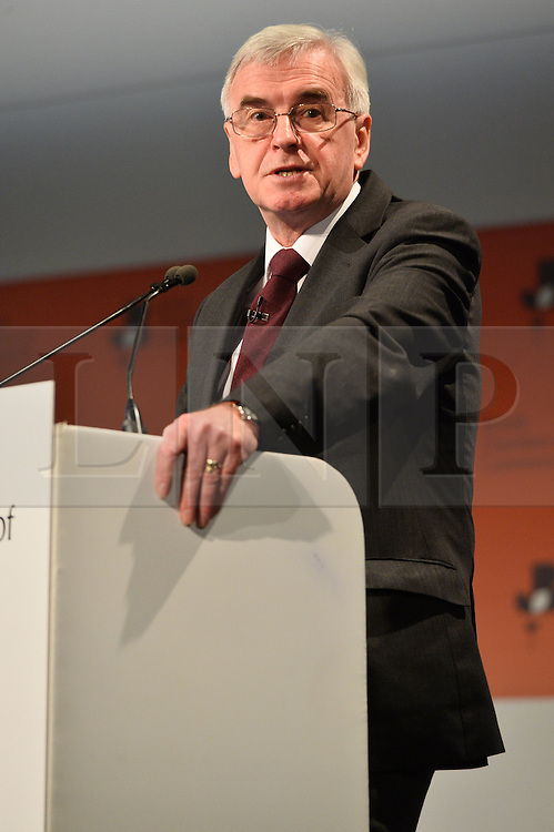 © Licensed to London News Pictures. 28/02/2017.  Shadow Chancellor of the Exchequer JOHN MCDONNELL speaks at the British Chambers of Commerce Annual Conference 2017 on growing business in the regions and nations. London, UK. Photo credit: Ray Tang/LNP
