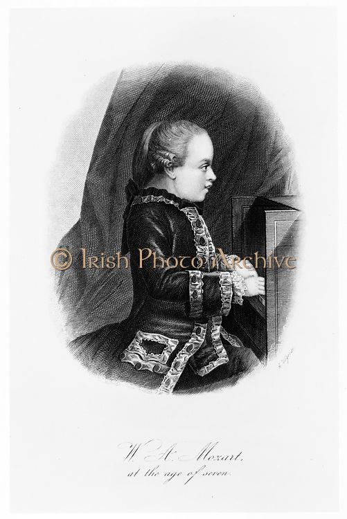 Wolfgang Amadeus Mozart (1756-1791), c1763.  Mozart at the age of seven seated at the keyboard.
