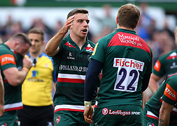George Ford of Leicester Tigers high fives Mathew Tait of Leicester Tigers - Mandatory by-line: Robbie Stephenson/JMP - 25/03/2018 - RUGBY - Welford Road Stadium - Leicester, England - Leicester Tigers v Wasps - Aviva Premiership
