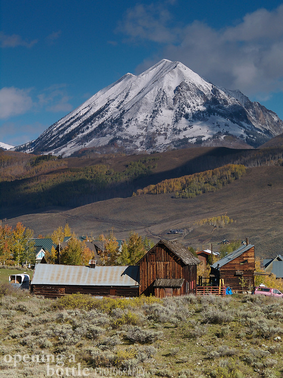 Wood-plank home and Snodgrass Mountain, Crested Butte, Colorado.
