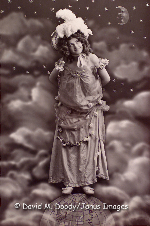 Woman standing on the globe with the moon over her shoulder, circa 1900.