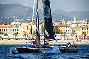Emirates Team New Zealand on day two of the Extreme Sailing Series at Nice. 3/10/2014