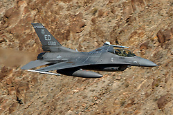 United States Air Force General Dynamics F-16C Fighting Falcon Block 30B (85-1560) flies low level on the Jedi Transition through Star Wars Canyon / Rainbow Canyon, Death Valley National Park, Panamint Springs, California, United States of America