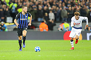 Inter Milan defender Stefan de Vrij (6) and Tottenham Hotspur midfielder Dele Alli (20) during the Champions League group stage match between Tottenham Hotspur and Inter Milan at Wembley Stadium, London, England on 28 November 2018.