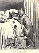 "Before she had time to exclaim ""Oh, my gracious!"" She was bolted entire by the monster voracious."" Illustration from 'Little Red Riding Hood' by Paul Gustave Dore (1832-1883). The big bad wolf devours the Old Lady in her bed illustration by Gustave Dore from the book Fairy realm. A collection of the favourite old tales. Illustrated by the pencil of Gustave Dore by Tom Hood, (1835-1874); Gustave Doré, (1832-1883) Published in London by Ward, Lock and Tyler in 1866"