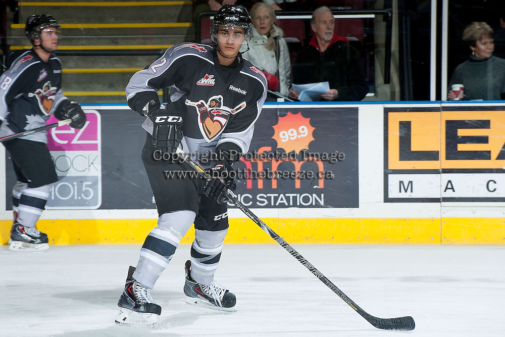 KELOWNA, CANADA - JANUARY 4: Shaun Dosanjh D #2 of the Vancouver Giants warms up against the Kelowna Rockets on January 4, 2014 at Prospera Place in Kelowna, British Columbia, Canada.   (Photo by Marissa Baecker/Shoot the Breeze)  ***  Local Caption  ***