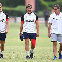 DURBAN, SOUTH AFRICA - OCTOBER 24: Ross Geldenhuys with Franco Marais and Robert du Preez (Head Coach) of the Cell C Sharks during the Cell C Sharks training session at Growthpoint Kings Park on October 24, 2017 in Durban, South Africa. (Photo by Steve Haag/Gallo Images)