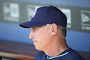 LOS ANGELES, CA - AUGUST 20:  Manager Bud Black #20 of the San Diego Padres looks on from the dugout before the game against the Los Angeles Dodgers at Dodger Stadium on Wednesday, August 20, 2014 in Los Angeles, California. The Padres won the game 4-1. (Photo by Paul Spinelli/MLB Photos via Getty Images) *** Local Caption *** Bud Black
