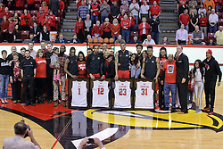 22 February 2017:  Seniors honored at Senior Night during a College MVC (Missouri Valley conference) mens basketball game between the Southern Illinois Salukis and Illinois State Redbirds in  Redbird Arena, Normal IL