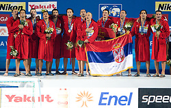 Team of Serbia singing national anthem  after the Men's  Waterpolo Final match between National teams of Serbia and Spain during the 13th FINA World Championships Roma 2009, on August 1, 2009, at the Stadio del Nuoto,  in Foro Italico, Rome, Italy. Serbia won after penalties shootout 14:13.  (Photo by Vid Ponikvar / Sportida)
