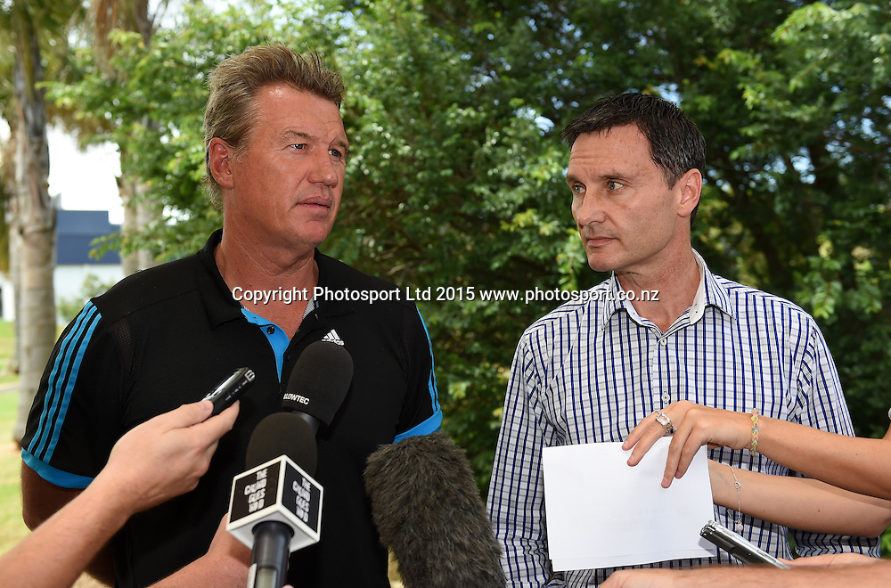 Blues CEO Michael Redman and coach Sir John Kirwan during a media conference ahead of the 2015 Super Rugby Season. Unitec, Auckland. New Zealand. 21 January 2015. Copyright Photo: Andrew Cornaga/www.Photosport.co.nz