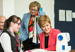 Scottish National Party leader, Nicola Sturgeon, joins Council candidates in Edinburgh to launch the SNP's manifesto for the 2017 Local Government election.<br /> <br /> Pictured: First Minister, Nicola Sturgeon and Joanna Cherry QC MP with Sarah Lomax, who uses the WHALE Community Arts Centre