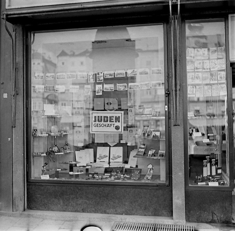 Jewish Shops with Mandatory Signs, Linz, Austria, circa 1938