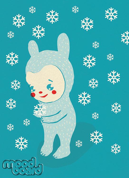 Cartoon creature stands in winter snow