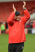 Charlton Athletic Manager Russell Slade celebrates, celebrating win 1-2 during the EFL Sky Bet League 1 match between Walsall and Charlton Athletic at the Banks's Stadium, Walsall, England on 20 August 2016. Photo by Alan Franklin.