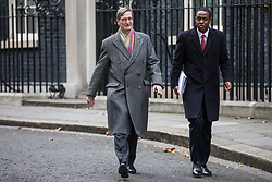 © Licensed to London News Pictures. 29/11/2017. London, UK. Dominic Grieve MP (L) on Downing Street after an undisclosed meeting said to be about 'ideas and strategy'. Photo credit: Rob Pinney/LNP