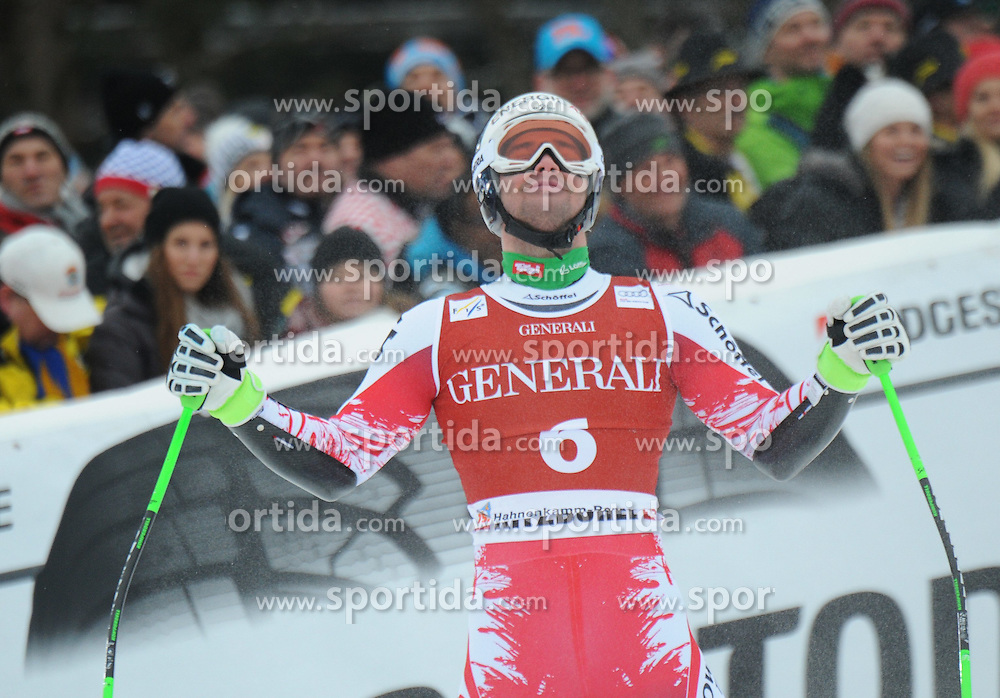 23.01.2015, Streif, Kitzbuehel, AUT, FIS Ski Weltcup, Supercombi Super G, Herren, im Bild Vincent Kriechmayr (AUT) // Vincent Kriechmayr of Austria reacts after his run of the men's Super Combined Super-G of Kitzbuehel FIS Ski Alpine World Cup at the Streif Course in Kitzbuehel, Austria on 2015/01/23. EXPA Pictures © 2015, PhotoCredit: EXPA/ Erich Spiess
