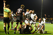 Prop Dmitri Arhip scores first try during the Guinness Pro 14 2017_18 match between Edinburgh Rugby and Ospreys at Myreside Stadium, Edinburgh, Scotland on 4 November 2017. Photo by Kevin Murray.