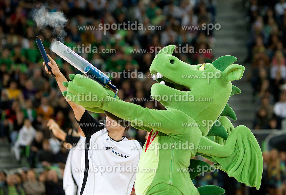 Dragon, Mascot of Olimpija during basketball match between KK Union Olimpija (SLO) and Efes Pilsen (Tur) in Group D of Turkish Airlines Euroleague, on October 20, 2010 in SRC Stozice, Ljubljana, Slovenia. Union Olimpija defeated Efes Pilsen after 2 overtimes 95 - 90. (Photo By Vid Ponikvar / Sportida.com)