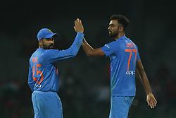 March 8, 2018 - Colombo, Sri Lanka - Indian cricket captain Rohit Sharma (L) and Jaydev Unadkat celebrate during the 2nd T20 cricket match of NIDAHAS Trophy between India  and Bangladesh at R Premadasa cricket ground, Colombo, Sri Lanka on Thursday 8 March 2018. (Credit Image: © Tharaka Basnayaka/NurPhoto via ZUMA Press)