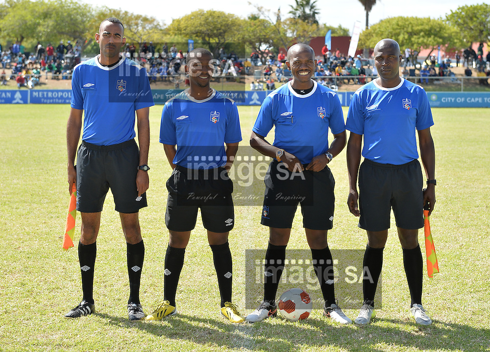 CAPE TOWN, SOUTH AFRICA - Monday 28 March 2016, referees during the mid section final match between Hellenic and Milano United during the final day of the Metropolitan U19 Premier Cup at Erica Park in Belhar. <br /> Photo by Roger Sedres/ImageSA