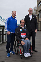 Elite Wheelchair athletes photocall with members of The Abbott Majors team and Marcel  Hug SUI at the Guoman Tower Hotel. The Virgin Money London Marathon, 21st April 2017.<br /> <br /> Photo: Neil Turner for Virgin Money London Marathon<br /> <br /> For further information: media@londonmarathonevents.co.uk