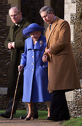 Royals in Sandringham..The Royal Family on Christmas Day at church in Sandringham, Norfolk. The Queen Mother leaving the church after the service with help from Prince Charles and the Duke of Edinburgh. Christmas Day service 2000. Photo by Andrew Parsons/i-Images.Queen Mother at Sandringham attending church service on Christmas Day 2000. Photo by Andrew Parsons/i-Images.Queen Mother and Prince Charles and Duke of Edinburgh at Sandringham attending church service on Christmas Day 2000. Photo by Andrew Parsons/i-Images.
