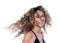 beautiful caucasian woman shake hair  portrait isolated studio on white background