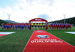Both teams line up  - Mandatory byline: Joe Meredith/JMP - 07966386802 - 05/09/2015 - FOOTBALL- INTERNATIONAL - San Marino Stadium - Serravalle - San Marino v England - UEFA EURO Qualifers Group Stage