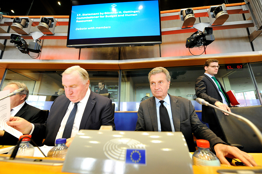 12 May 2017, 123rd Plenary Session of the European Committee of the Regions <br /> Belgium - Brussels - May 2017 <br /> <br /> LAMBERTZ Karl-Heinz and G&uuml;nther H. Oettinger, Commissioner for Budget and Human Resources