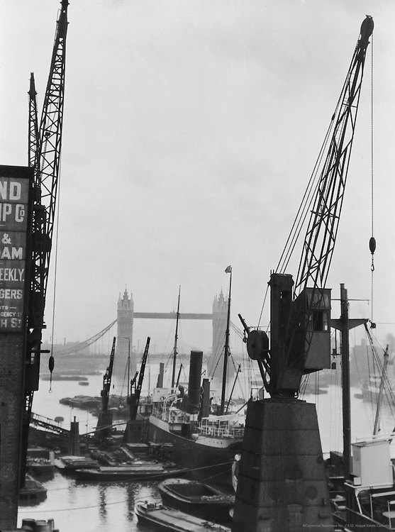 Tower Bridge from London Bridge, London, England, 1925