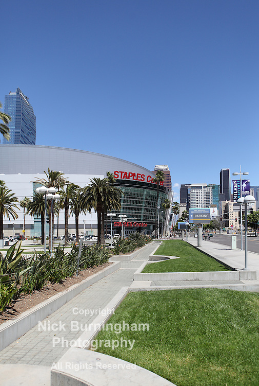 LOS ANGELES, CALIFORNIA, USA - April 16, 2013 - The Staples Center in Downtown Los Angeles on April 16, 2013. It is 950,000 SF and is home to the Lakers team and seats up to 19,060 for basketball