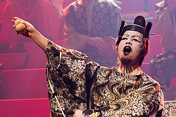 © Licensed to London News Pictures. 21/05/2015. London, UK. Pictured: Genki Hori as Lucianus. The Ninagawa Company returns to the Barbican and perform Hamlet by Shakespeare under the direction of Yukio Ninagawa. With Tatsuya Fujiwara as Hamlet. Performances in Japanese with English surtitles from 21 to 24 May 2015. Photo credit : Bettina Strenske/LNP