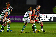 Dragons' James Benjamin in action during todays match<br /> <br /> Photographer Craig Thomas/Replay Images<br /> <br /> EPCR Champions Cup Round 4 - Newport Gwent Dragons v Newcastle Falcons - Friday 15th December 2017 - Rodney Parade - Newport<br /> <br /> World Copyright &copy; 2017 Replay Images. All rights reserved. info@replayimages.co.uk - www.replayimages.co.uk
