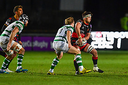 Dragons' James Benjamin in action during todays match<br /> <br /> Photographer Craig Thomas/Replay Images<br /> <br /> EPCR Champions Cup Round 4 - Newport Gwent Dragons v Newcastle Falcons - Friday 15th December 2017 - Rodney Parade - Newport<br /> <br /> World Copyright © 2017 Replay Images. All rights reserved. info@replayimages.co.uk - www.replayimages.co.uk