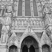 Salisbury Cathedral Facade - Salisbury, UK - Black & White