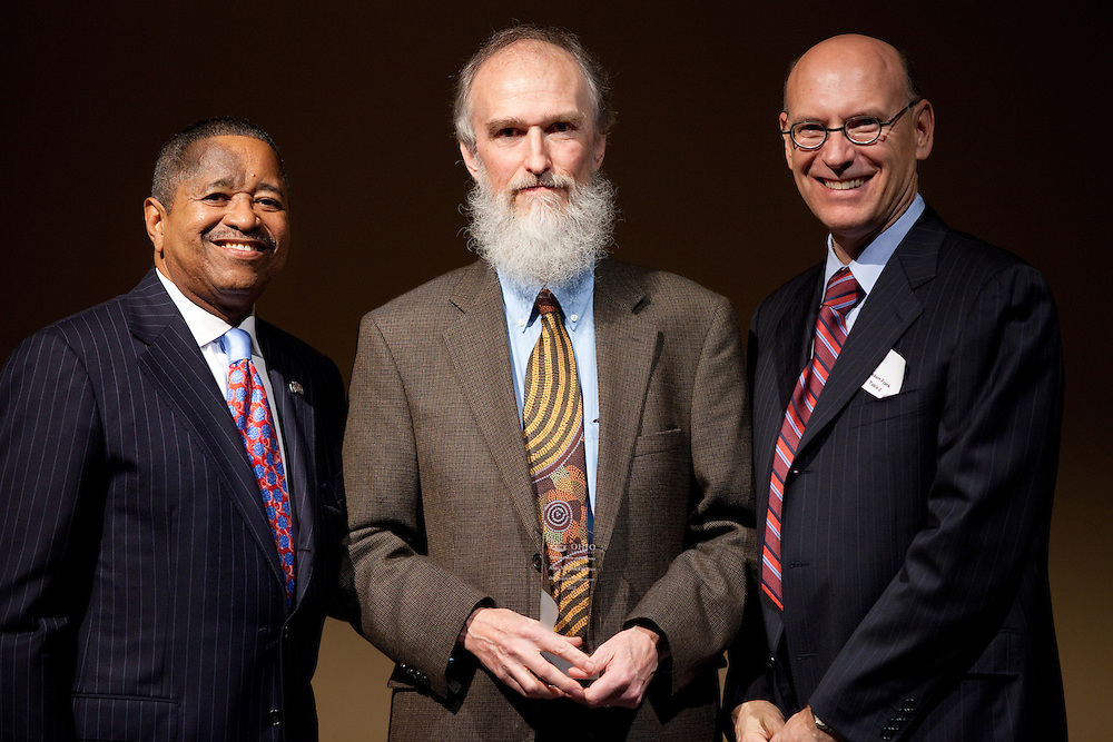 President McDavis, Alan MacEachren, and Bob Frank pose for a portrait at the College of Arts and Sciences Distinguished Alumni Awards Dinner and Ceremony on October 4, 2012..Photo by Chris Franz