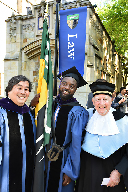 May 23, 2016 New Haven<br /> The Yale Law School during commencement exercises. Harold Koh, Reginald Dwayne Betts, Guido Calabresi.