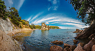 Panorama stitched image. Katherine Bay. Great Barrier Island.