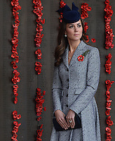 The Duke and Duchess of Cambridge attend the ANZAC March and Commemorative Service and lay a wreath before planting a 'Lone Pine' tree in the Memorial Garden, as part of their tour of New Zealand and Australia, in Canberra, Australia, on the 25th April 2014.