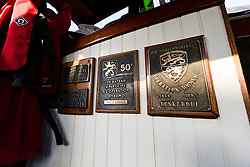 © Licensed to London News Pictures. 16/05/2015. London, UK. Original plaques inside Dunkirk Little Ship, Hilfranor. Over 20 Dunkirk Little Ships have gathered in London toay before leaving in the morning to continue their journey to Dunkirk to mark the 75th anniversary of the Dunkirk Evacuations. Photo credit : Vickie Flores/LNP