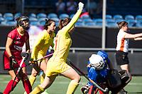 BREDA - Jiaqi Zhong (Chn) heeft gescoord   tijdens Spanje-China bij de 4 Nations Trophy dames 2018 .  COPYRIGHT  KOEN SUYK