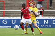 AFC Wimbledon midfielder Alfie Eagan (28) tackling Ebbsfleet united midfielder Myles Weston (11) during the Pre-Season Friendly match between Ebbsfleet and AFC Wimbledon at Stonebridge Road, Ebsfleet, United Kingdom on 29 July 2017. Photo by Matthew Redman.