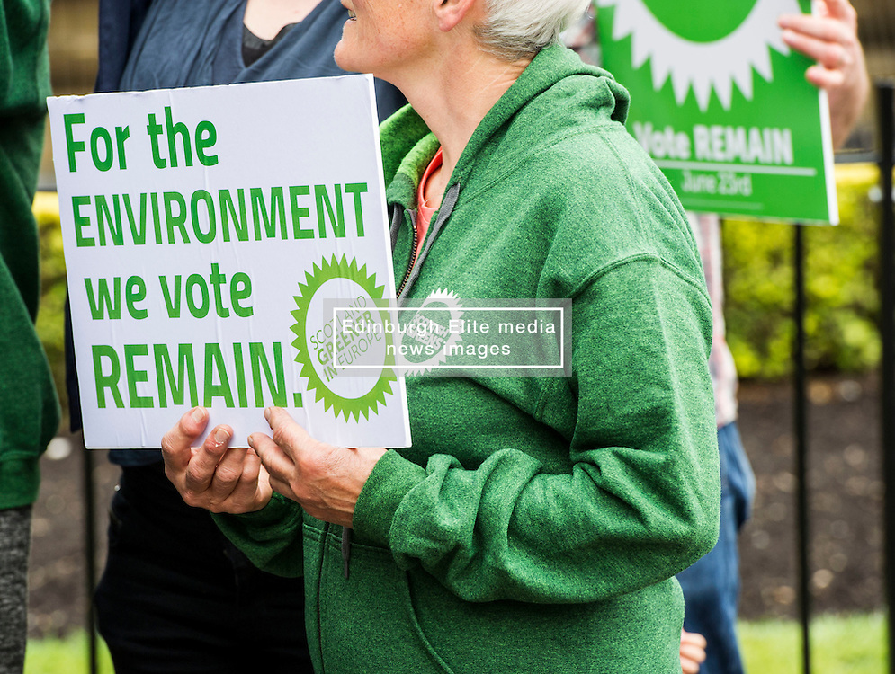Pictured: <br /> <br /> The Scottish Green Party launched their statement on European Referendum today in Edinburgh. MSPs Ross Greer, Andy Wightman, Alison Johnstone were joined by co-convenor Maggie Chapman and activists as they the party's position on the referendum<br /> Ger Harley | EEm 13 June 2016