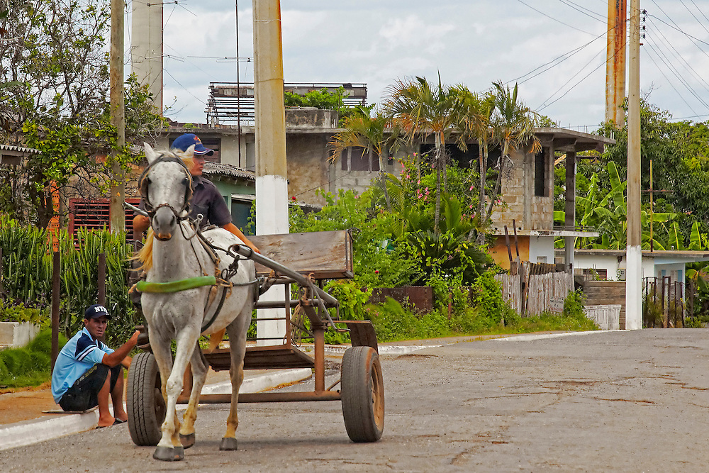 Horse and cart in Santa Lucia, Pinar del Rio, Cuba.