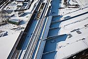 Nederland, Utrecht, Leidsche Rijn, 31-01-2010; de ingang van de nieuwe landtunnel voor de A2, met vier tunnelbuizen. De tunnel ligt parallel aan de bestaande A2. De verbreedde spoorlijn Utrecht-Gouda gaat over de ingang tunnelbuizen..Entrance of the new landtunnel for A2, with four tunnel tubes. The broadened railway line Utrecht-Gouda above the entrance tunnel tubes (foreground).luchtfoto (toeslag), aerial photo (additional fee required).foto/photo Siebe Swart