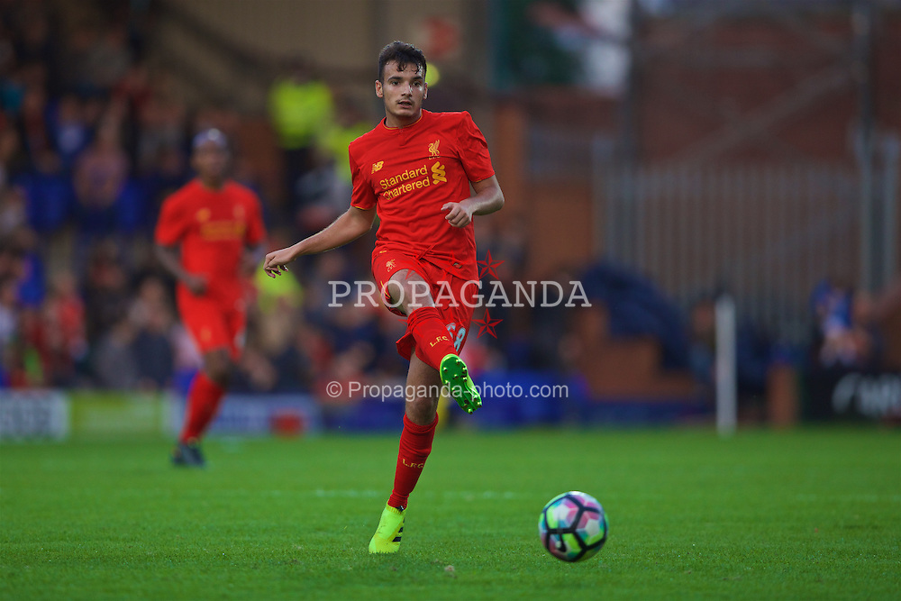 BIRKENHEAD, ENGLAND - Friday, July 8, 2016: Liverpool's Pedro Chirivella in action against Tranmere Rovers during a preseason friendly match at Prenton Park. (Pic by Bradley Ormesher/Propaganda)