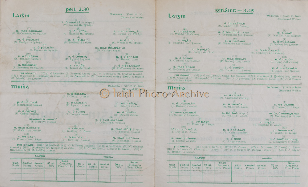 Interprovincial Railway Cup Football Cup Final,  17.03.1961, 03.17.1961, 17th March 1961, referee S O Mairtin , Leinster 4-05, Munster 0-04, Football Team Leinster, W Nolan, P McCormack, G Hughes, S Egan, M Brady, P Holden, C Wrynne, S Foran, M Carley, K Beahan, F Lynch, J Kenna, S Brereton, J Joyce, K Heffernan, Football Team Munster, J Cullotty, P Harrington, T Lyons N Sheehy, K Coffey, T Long, M Dwyer, S Murphy, C O'Sullivan, E McCarthy, J Keating, P Sheehy, T Power, J Dowling, G McMahon,.Interprovincial Railway Cup Hurling Cup Final,  17.03.1961, 03.17.1961, 17th March 1961, referee C O Dublainn, Leinster 3-09, Munster 4-12, Hurling Team Leinster, O Walsh, T Walsh,  N O'Donnell, T Neville, J English, E Wheeler, S Nolan, D Foley, S Clohessy, S O'Brien, P Kehoe, E Kerr, O McGrath, W Dwyer, T Flood, Hurling Team Munster, M Cashman, J Brohan, M Maher, J Barron, T McCarry, A Wall, M Morrissey, S Power, T English, J Doyle, T Kelly, F Walsh, J Smith, C Ring, L Devanney, .