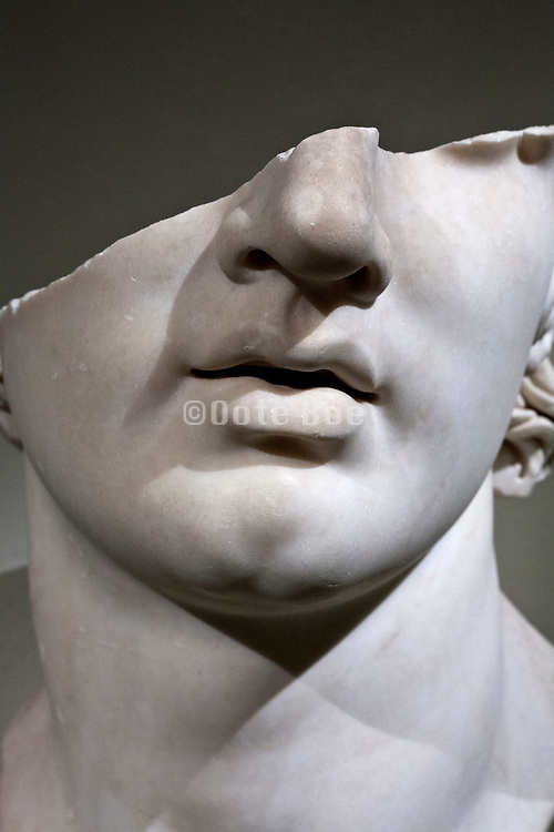 broken marble head, Greek, Hellenistic period